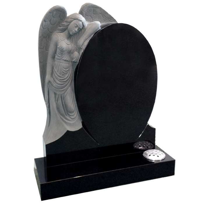 Lamenting Angel and Elegant Arched Memorial