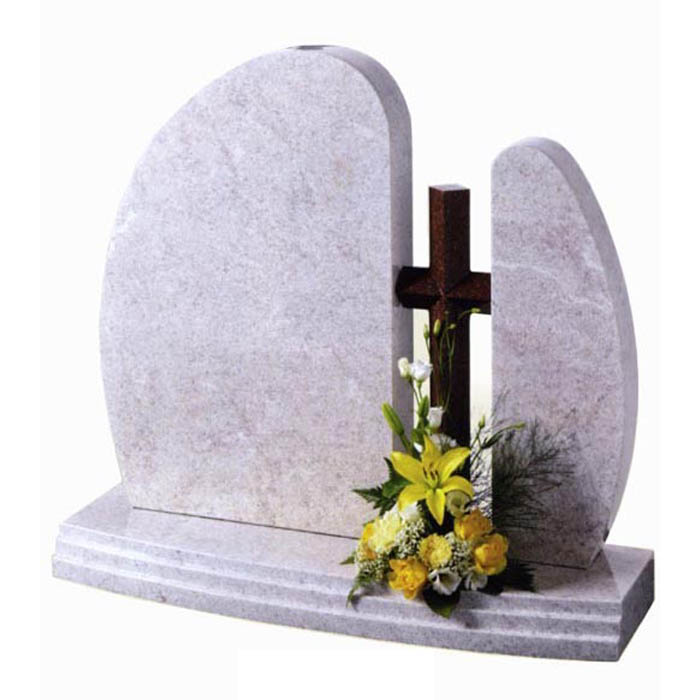 White granite Newland 3 piece headstone with red granite cross